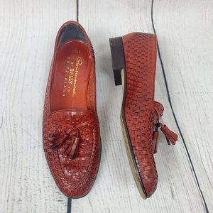 Bally Red Tassel Loafers Knit Leather Pattern 9.5